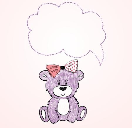 baby bear: Baby bear cartoon. Vector hand drawn illustration.