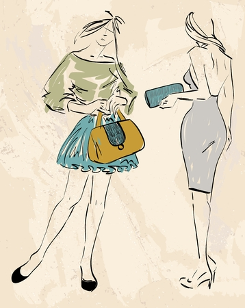 clutch: sketch fashion models. Women show fashionable accessories Illustration