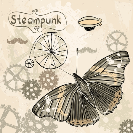 automaton: drawn illustration of an  butterfly in style steampunk