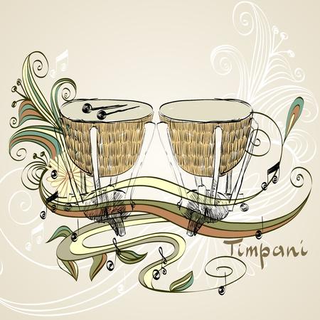 skin tones: hand drawn timpani on a light background