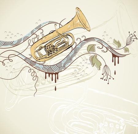 cornet: hand drawn tuba on a light background