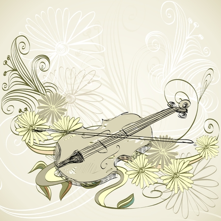 melodic: hand drawn violin on a light background