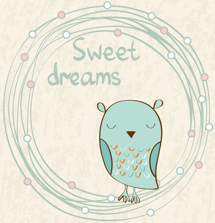 owl illustration: Cartoon Sleeping owl. Cute Hand Drawn  illustration