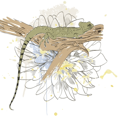 vector sketch of lizard with cute flowers