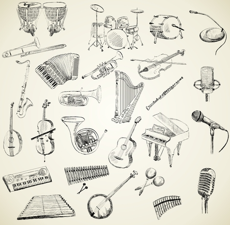 oboe: hand drawn set of classical musical instruments Illustration