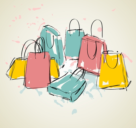 vector sketch illustration with colored shopping bags. Vettoriali