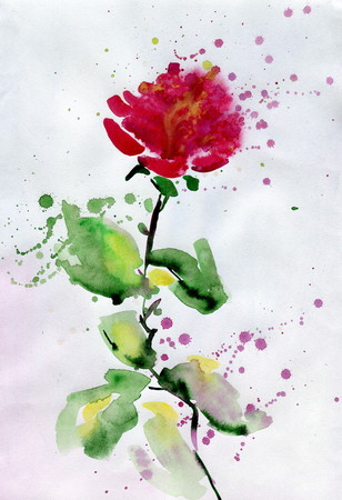 gently: Watercolor cute red rose. Watercolor floral background