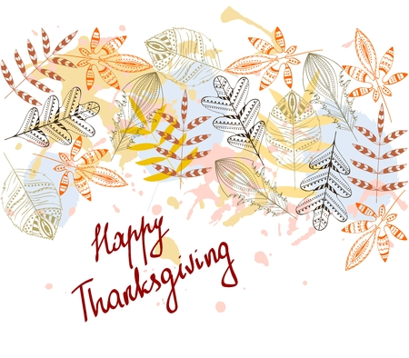 abstract autumn leaves. Happy Thanksgiving day. Hand drawn vector illustration