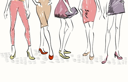 supermodel: sketch fashion models. Women show fashionable clothes Illustration