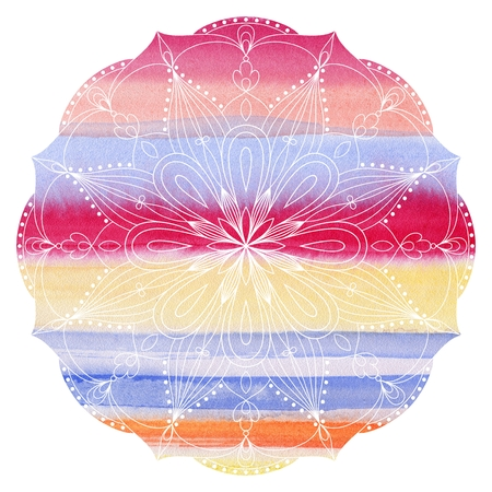 Mandala  colorful watercolor. Beautiful round pattern. Detailed abstract pattern. Decorative isolated. Stock Photo