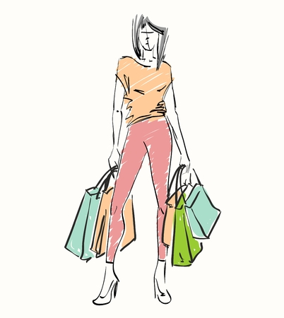 happy shopper: vector illustration of a woman with shopping bags Illustration