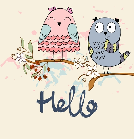 illustration with cartoon owls sitting on the branches Illustration