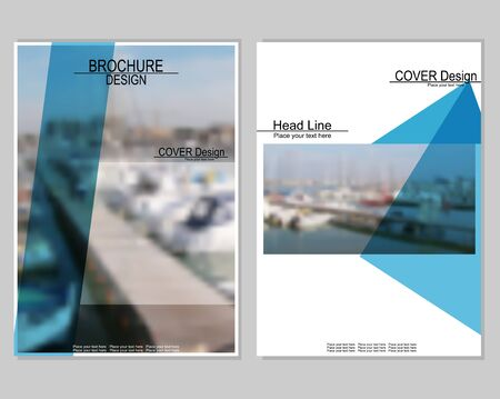seaports: Vector brochure cover templates with blurred seaport. Business brochure cover design. EPS 10. Mesh background.