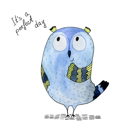 Watercolor funny illustration with owl. Hand drawn bird drawing.