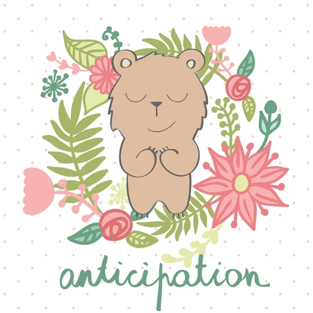 vector illustration of a cartoon happy bear. Anticipation.