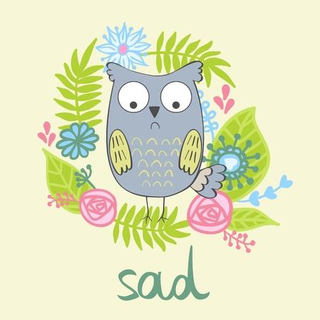 vector illustration of a cartoon sad owl.