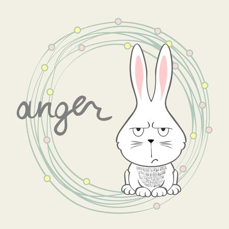 Anger. Vector illustration of a cartoon bunny