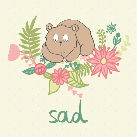 vector illustration of a cartoon sad bear.