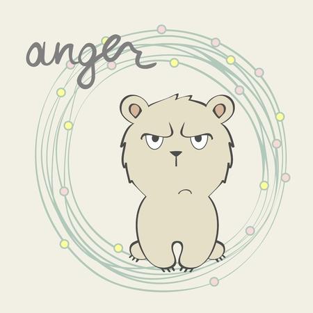 Anger. Vector illustration of a cartoon bear