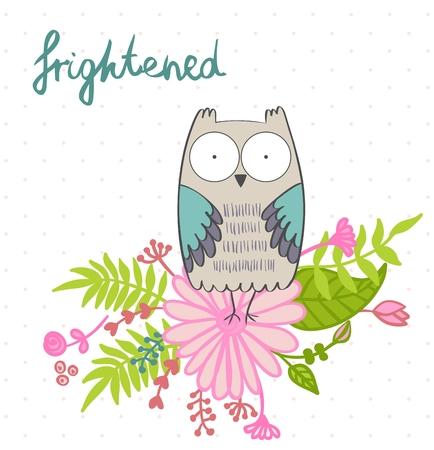 fright: vector illustration of a cartoon owl. Fright