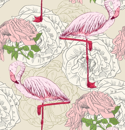 Flamingo. Seamless pattern