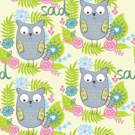 Illustration of a cartoon sad owl. Illustration