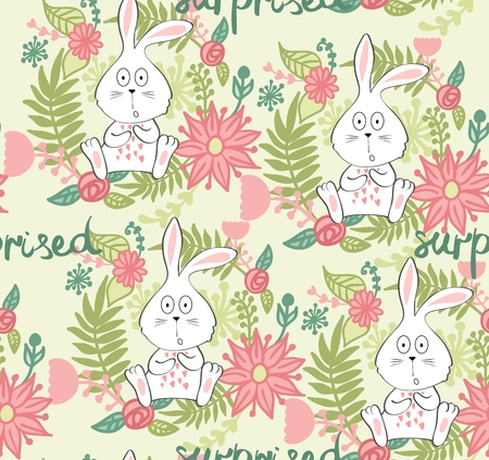 Cartoon of a surprised bunny with floral decorations Çizim