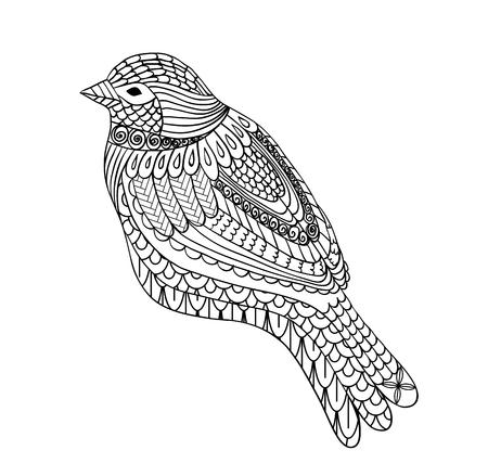Hand getrokken vogel Stock Illustratie