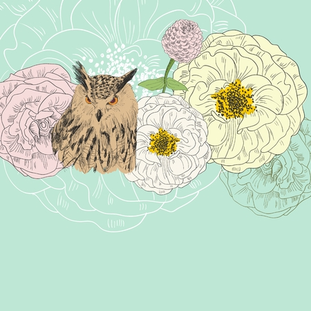 Owl with flowers.