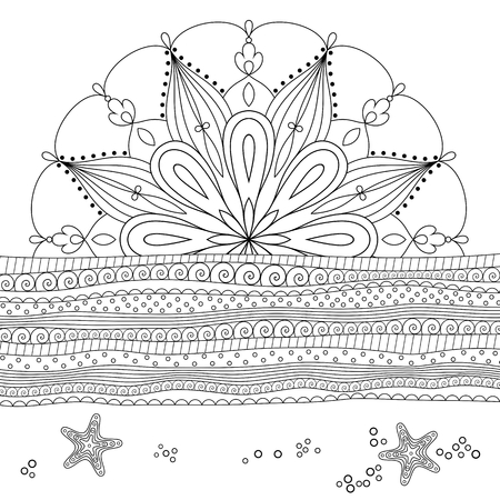 Seascape line art design for coloring book for adult.