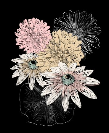 Hand drawn illustration with flowers. Floral background Illustration