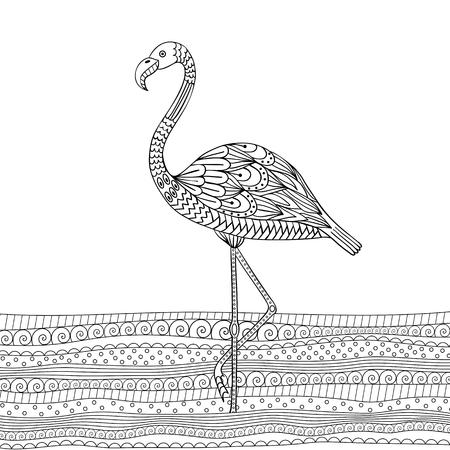 anti season: Hand drawn flamingo Illustration
