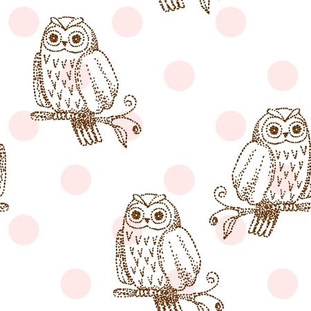 Vector owl seamless pattern Illustration