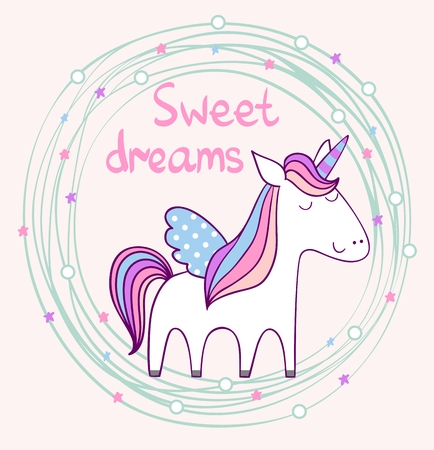 Sleeping Magic cute unicorn. Cute Hand Drawn greeting card.