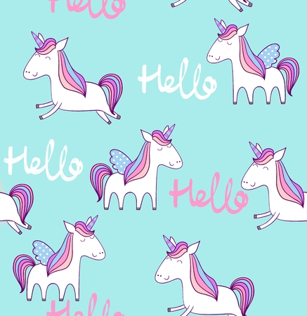 Magic cute unicorn. Vector seamless pattern