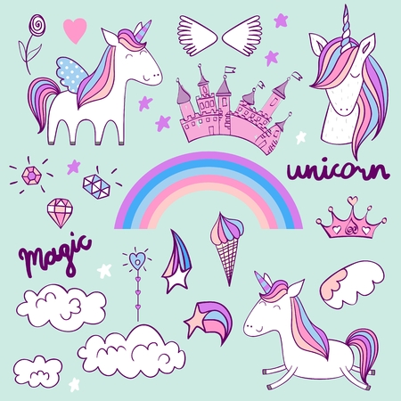 Vector set with unicorns, rainbow and other elements for girls.