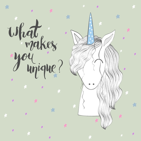 Unicorn with a blue-colored horn in gray background.