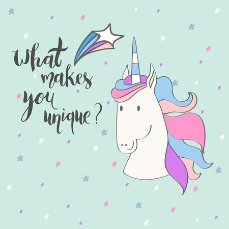 Magic cute unicorn Vektoros illusztráció