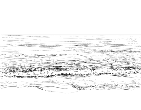 Zomer zeegezicht schets Stockfoto - 87049806
