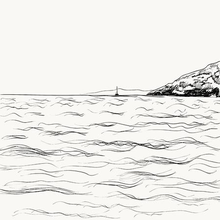 Summer seascape sketch Ilustração