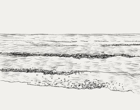 Zomer zeegezicht schets