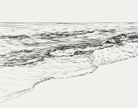 夏の海の風景スケッチ  イラスト・ベクター素材