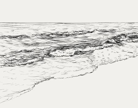 Zomer zeegezicht schets Vector Illustratie