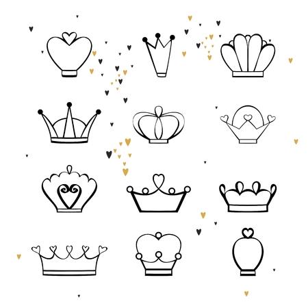Vector cartoon crowns.