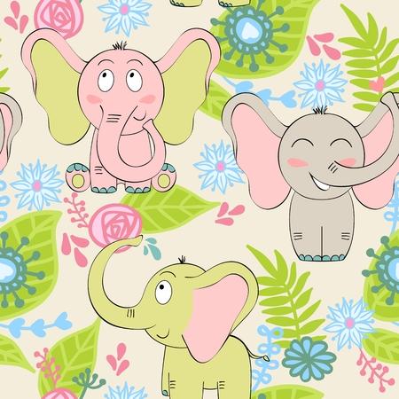 seamless pattern of elephant Illustration
