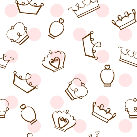Vector seamless pattern, different crown designs