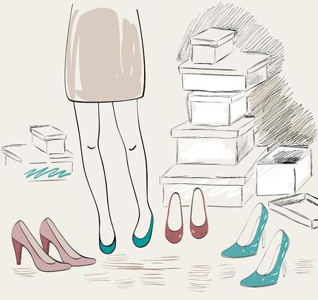 Vector shopping illustration on white background. Illustration