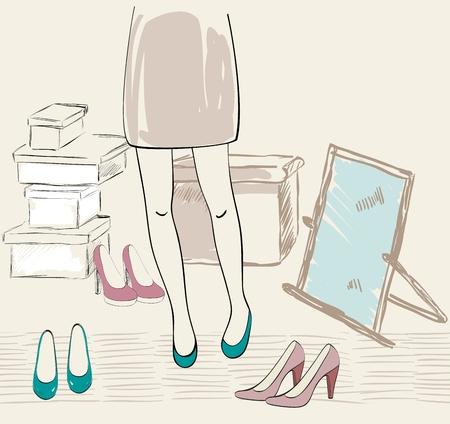 様々 な靴の図。  イラスト・ベクター素材