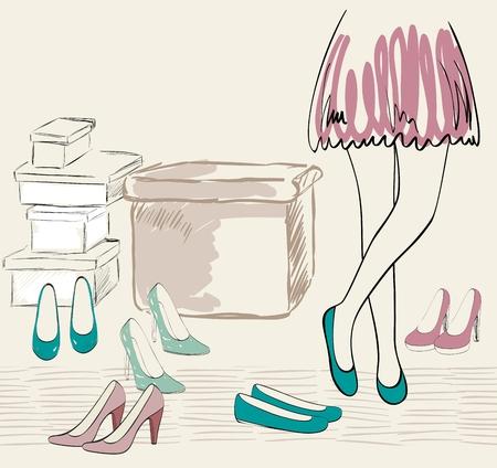 다양 한 신발 그림입니다.