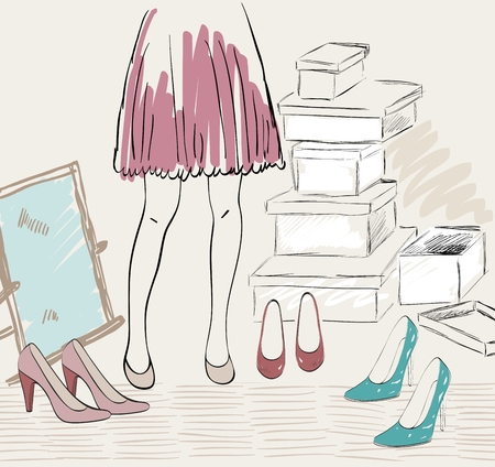 Variety of shoes illustration.